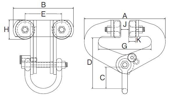Plan d'ensemble Pince Superclamp type BA 1.000 - 2.000 kg