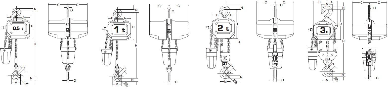 Plan d'ensemble Palan électrique triphasé (400V) - 2 vitesses