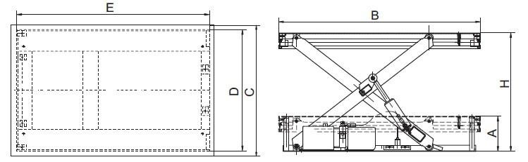 Plan d'ensemble Table élévatrice fixe REMA type HS
