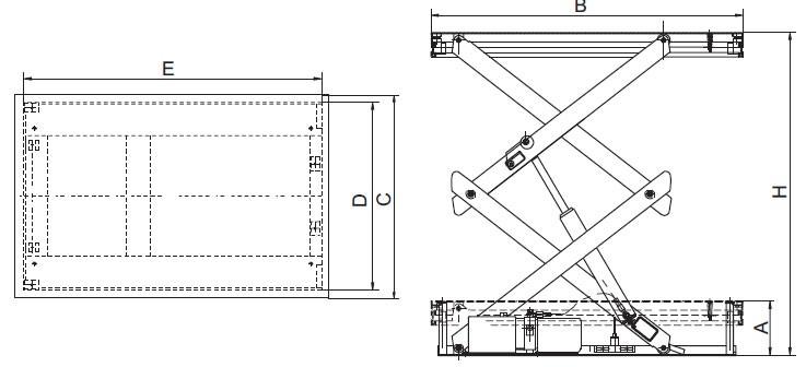 Plan d'ensemble Table élévatrice fixe à double ciseaux REMA type HSD