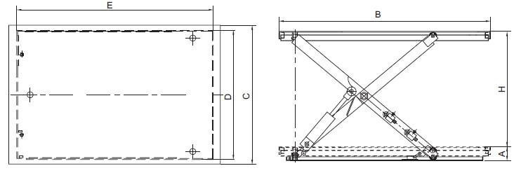 Plan d'ensemble Table élévatrice fixe, modèle basse REMA type HSL