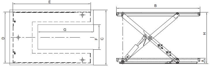 "Plan d'ensemble Table élévatrice fixe, modèle basse, forme ""U"" REMA type HSU"